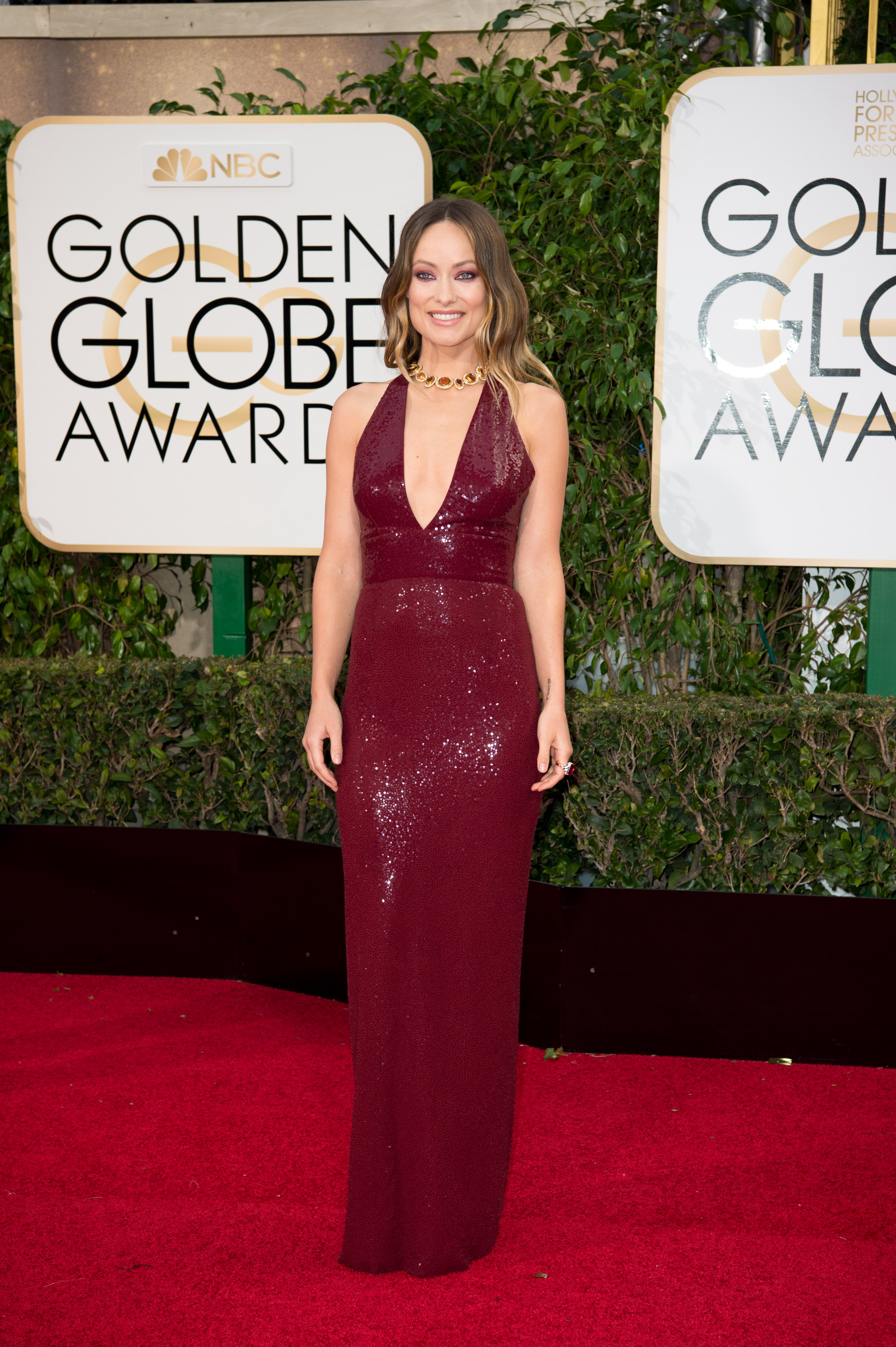 Olivia Wilde arrives at the 73rd Annual Golden Globe Awards at the Beverly Hilton in Beverly Hills, CA on Sunday, January 10, 2016.